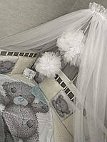 Балдахин в детскую кроватку с помпонами, белый в комплекте с держателем