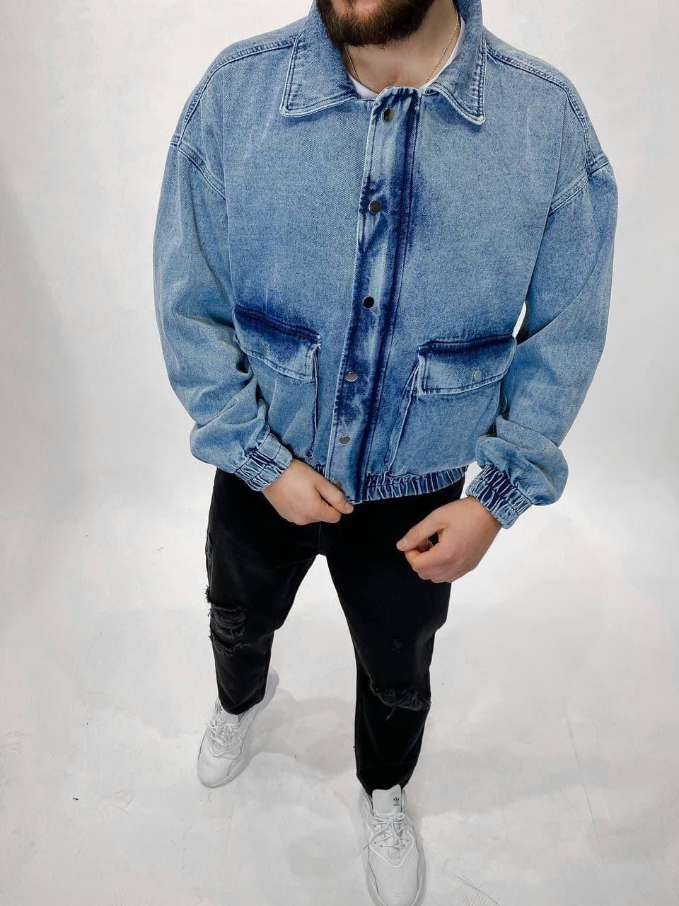 Мужская джинсовка оверсайз голубая