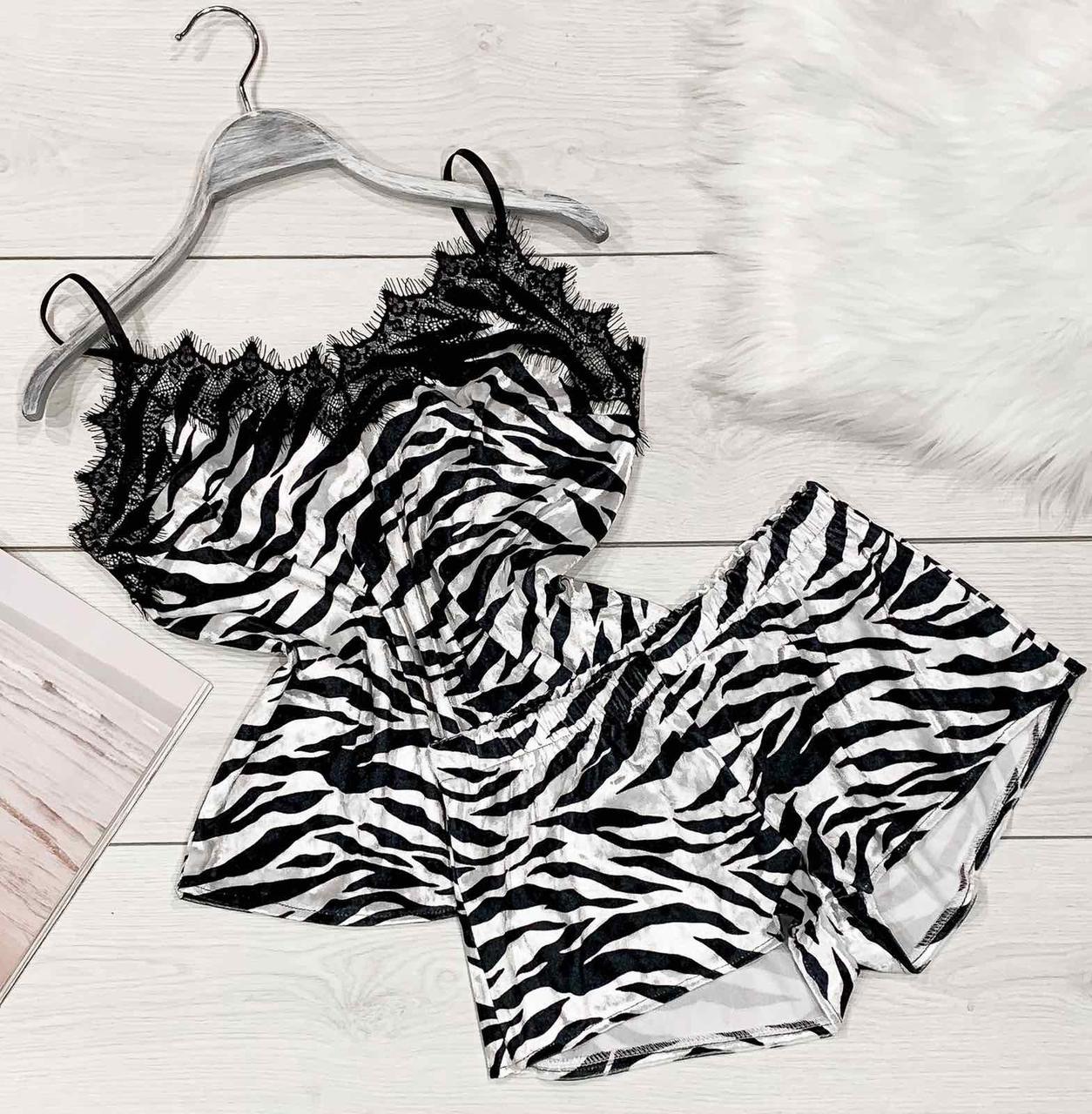 Велюрова піжама з мереживом 038 -зебра, піжами жіночі.