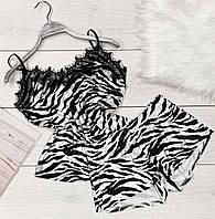 Велюровая пижама с кружевом 038 -зебра, пижамы женские.