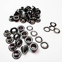 Люверсы для кожаных изделий 6мм (№4) Блек никель, Турция (250шт)