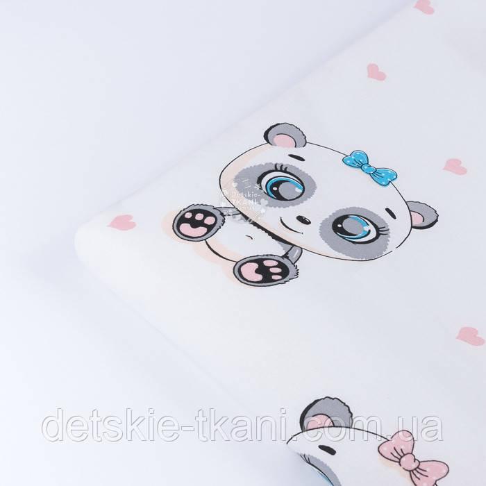 "Отрез ткани ""Панды-малыши и мини сердечки"" на белом фоне (№3433), размер 85*240 см"