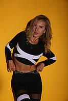 Женский спортивный костюм для фитнеса, йоги, бега (лосины, леггинсы + рашгард) черно-белый