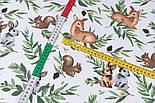 """Ранфорс шириною 240 см """"Козулі, білочки і зайчики на зеленому листі"""" на білому (№3430), фото 3"""