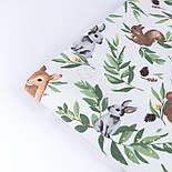 """Ранфорс шириною 240 см """"Козулі, білочки і зайчики на зеленому листі"""" на білому (№3430), фото 5"""