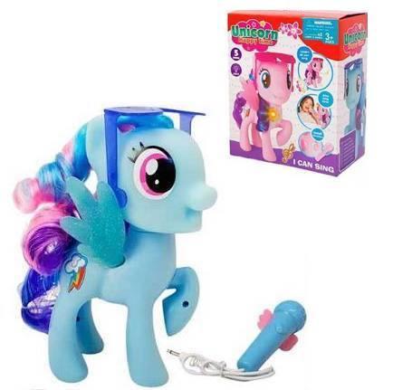 """Музична іграшка """"Поні з мікрофоном"""" БЛАКИТНА арт. 2098"""