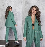 Женский молодежный брючный костюм с пиджаком в деловом стиле на лето из льна р-ры 42-44,46-48 арт 1298