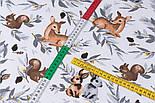 """Ранфорс шириною 240 см """"Козулі, білочки і зайчики на сірому листі"""" на білому (№3429), фото 4"""