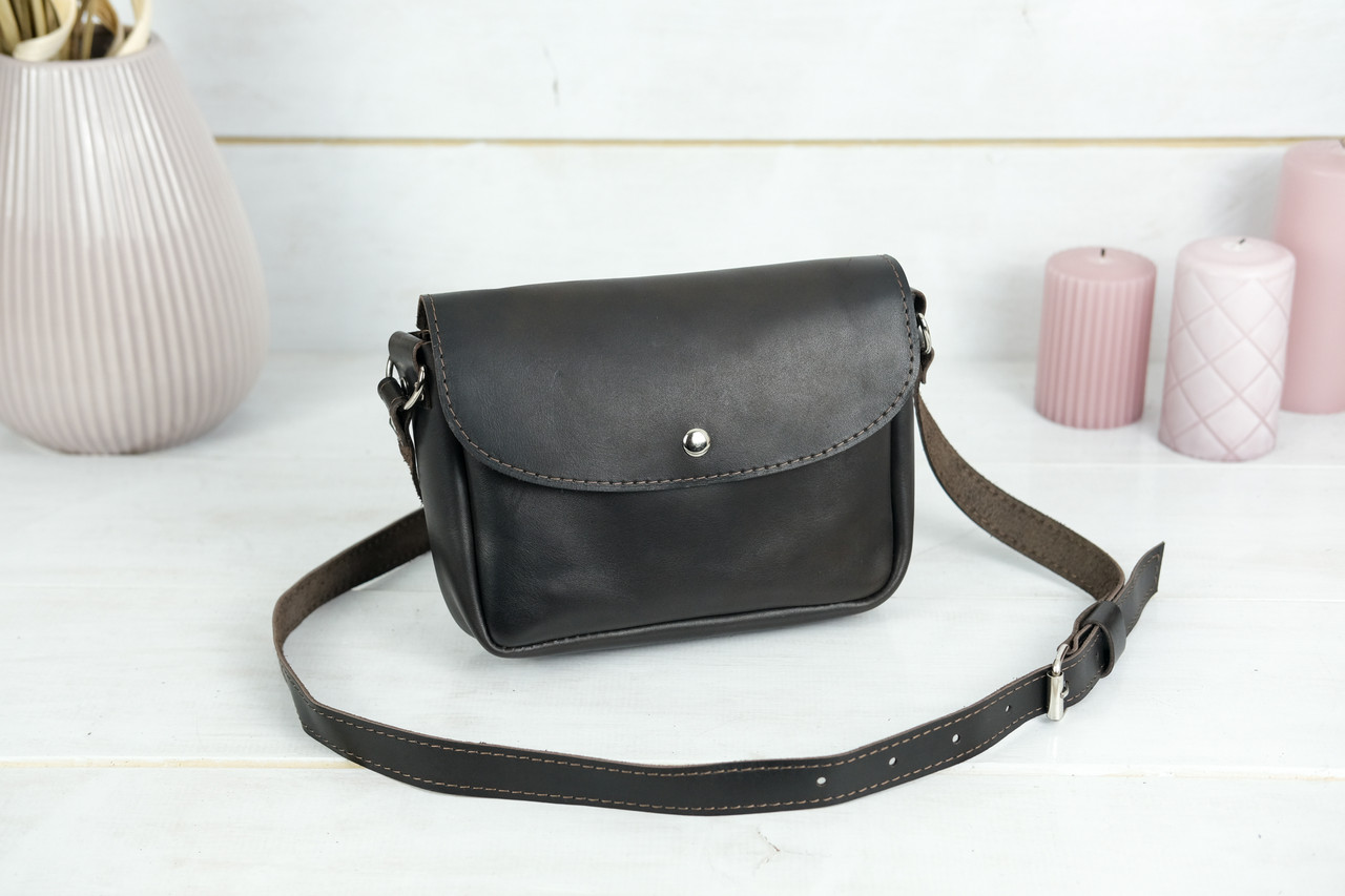 Сумка жіноча. Шкіряна сумочка Мія, Шкіра Італійський краст, колір Кава