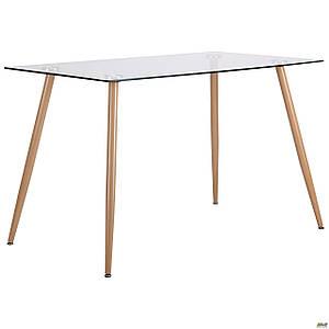 Стол обеденный AMF Умберто металлические ножки конусные прямоугольная столешница стеклянная прозрачная