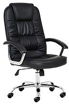 Кабинетное офисное кресло с подлокотниками на колесиках эко-кожа NEO9947 черное