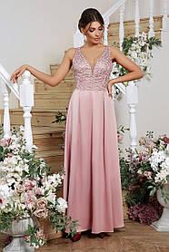 Довга атласна сукня з вишитою сіткою для випускного балу Розміри S, M, L, XL