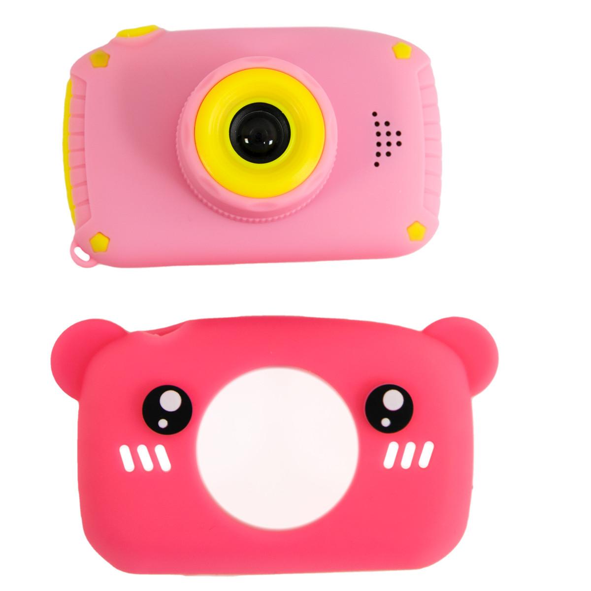 """Дитячий Рожевий цифровий фотоапарат """"Сhildrens fun camera - ведмідь"""", дитяча камера (детский фотоаппарат)"""