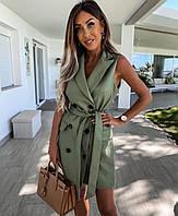 Платье кожаное без рукавов новинка 2021