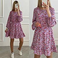 Платье весеннее в цветочек норма и батал новинка 2021