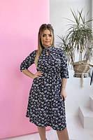 Платье в цветочек с длинным  рукавом норма и батал новинка 2021