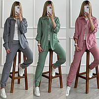 Женский весенний костюм брюки+рубашка норма и батал новинка 2021