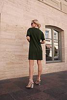 Крутое свободное платье футболка хаки черный беж, фото 2