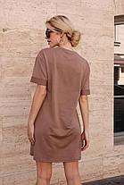 Крутое свободное платье футболка хаки черный беж, фото 3