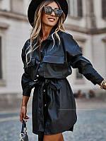 Женское кожаное  платье  с длинным рукавом новинка 2021