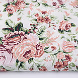 """Відріз тканини """"Троянди пудровий-бордові"""", розмір 85 * 160 см, фото 2"""