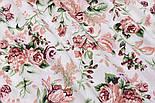 """Відріз тканини """"Троянди пудровий-бордові"""", розмір 85 * 160 см, фото 3"""