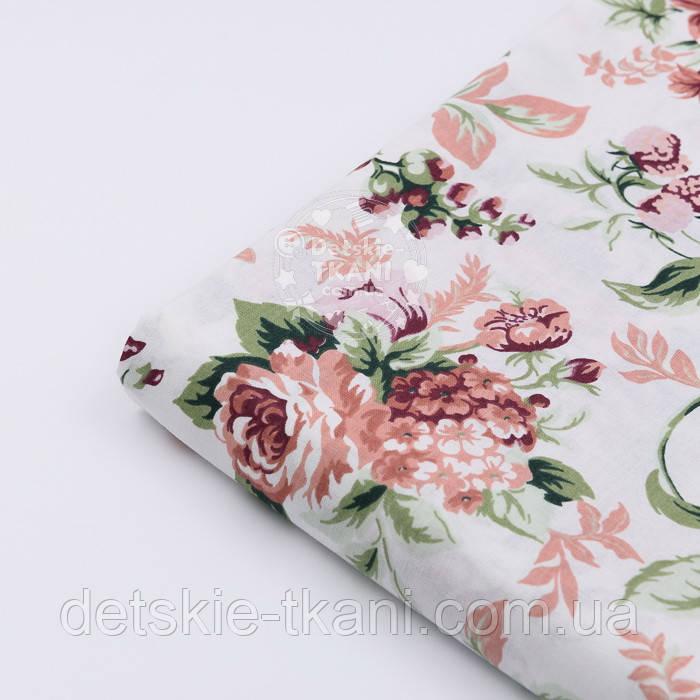 """Відріз тканини """"Троянди пудровий-бордові"""", розмір 85 * 160 см"""