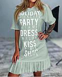 Свободное платье с коротким рукавом надписями и плисировкой в низу (р. 42-48) 53032451, фото 3