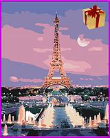 Картина по номерам на холсте Эйфелева башня, набор для творчества 40*50см подарок, живопись, Раскраски