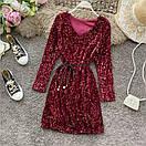 Жіноча сукня з паєтками Бордове, фото 3