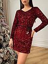 Жіноча сукня з паєтками Бордове, фото 5