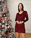 Жіноча сукня з паєтками Бордове, фото 4
