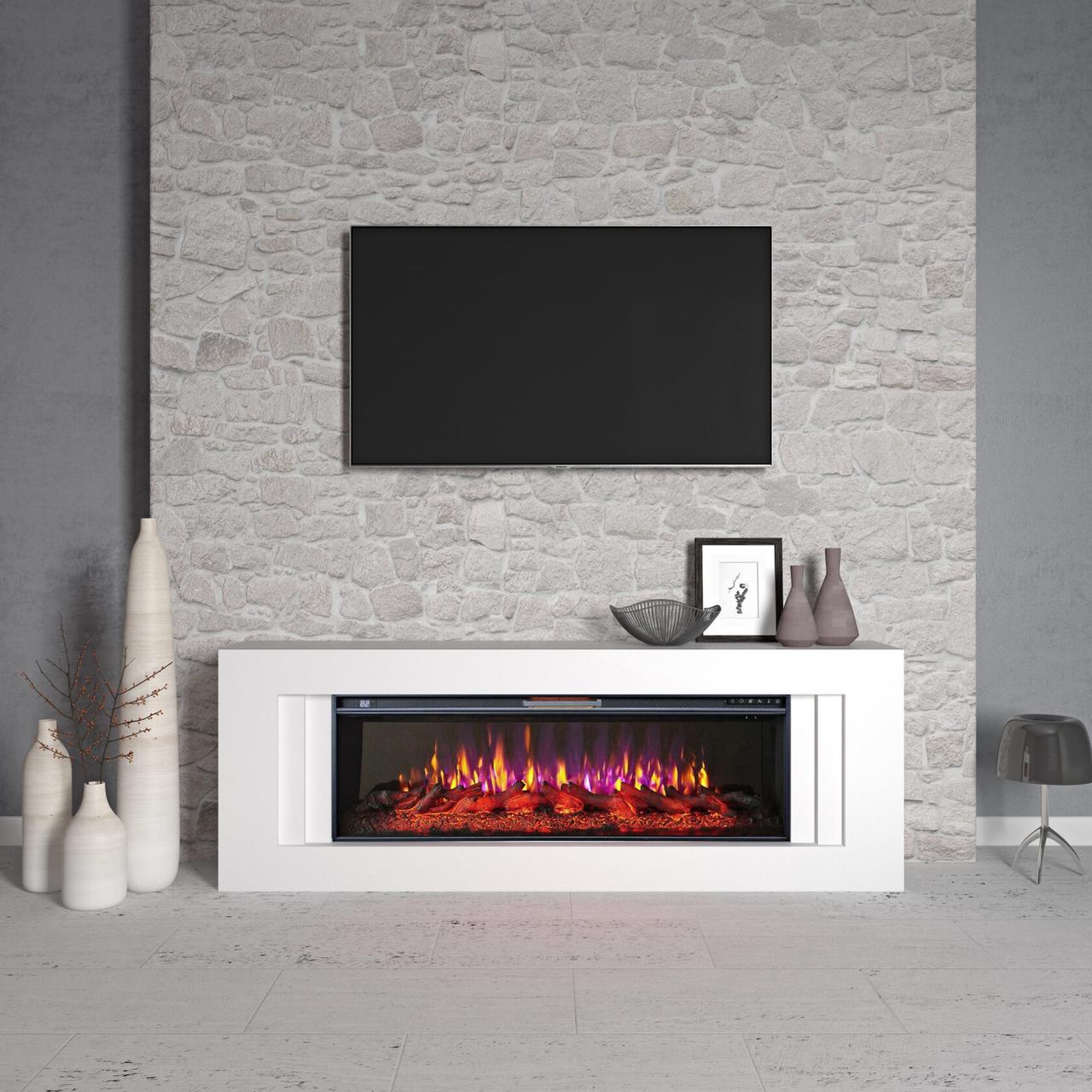 Декорация портал камина из МДФ и электрокамин 50 дюймов каминокомплект Line 50-1 белый