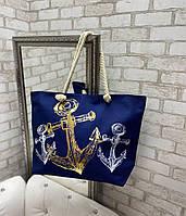 Пляжная сумка большая вместительная яркая льняная с веревочными ручками