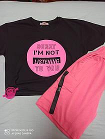 Летний подростковый костюм модный красивый нарядный для девочки шорты +футболка .Состав 95%котон 5% эластан. 164