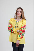 Вышиванка женская (полотно) XXL Пламенный вихрь желтая Wb-039