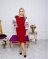 Платье Даяна вышитое полотно L вишневое