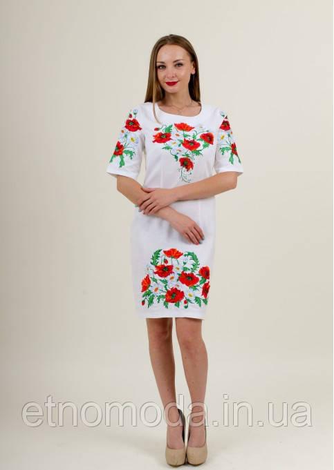 Платье Квітуче літо вышитое полотно XXL белое
