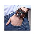 Широкий мужской браслет-манжета из натуральной кожи в стиле стимпанк закрывается на пряжку, фото 2