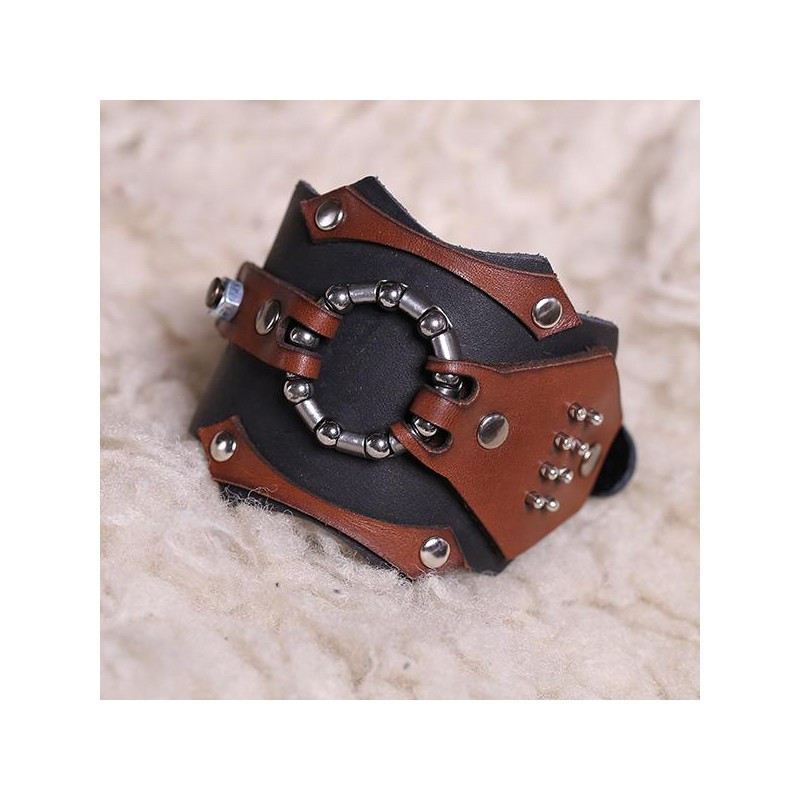 Широкий чоловічий браслет-манжета з натуральної шкіри в стилі стімпанк закривається на пряжку