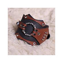 Широкий мужской браслет-манжета из натуральной кожи в стиле стимпанк закрывается на пряжку