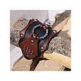 Широкий мужской браслет-манжета из натуральной кожи в стиле стимпанк закрывается на пряжку, фото 5