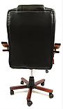 Кабинетное стильное кресло руководителя с подлокотниками на колесиках эко-кожа Prezydent Президент черное, фото 4