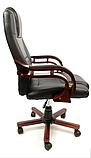 Кабинетное стильное кресло руководителя с подлокотниками на колесиках эко-кожа Prezydent Президент черное, фото 3