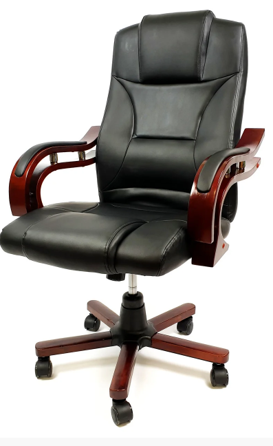 Кабинетное стильное кресло руководителя с подлокотниками на колесиках эко-кожа Prezydent Президент черное