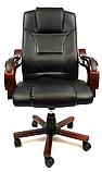 Кабинетное стильное кресло руководителя с подлокотниками на колесиках эко-кожа Prezydent Президент черное, фото 6
