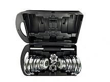 Комплект хромированных гантелей NEO-SPORT - 20 кг в боксе, разборных со сменными дисками, фото 3