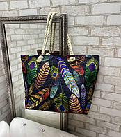 Красивая пляжная сумка большая вместительная яркая льняная с веревочными ручками
