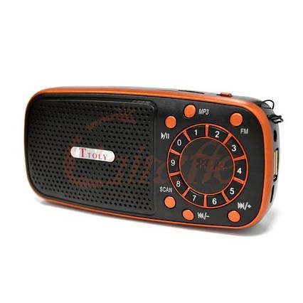 Компактний радіоприймач колонка Toly TO-205 з дисплеєм, кишеньковий приймач колонка MP3, USB, MP4 і SDcard