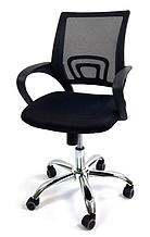 Эргономичное офисное кресло с подлокотниками на колесиках сетка Comfort C012 черное